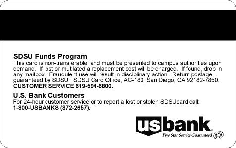 card policy on back side of SDSUcard