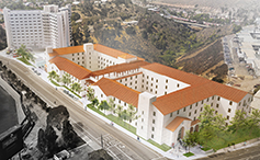 Aerial rendering of new student residence hall
