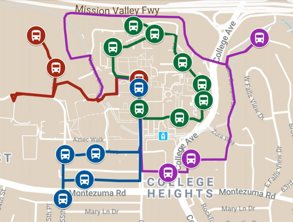 route map for the red and black cart service